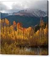 Vivid Autumn Aspen And Mountain Landscape Canvas Print