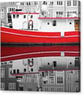 Vivid Rich Red Boat Canvas Print