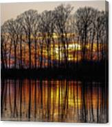 Vivid Sunset On The Lake In Olney Canvas Print