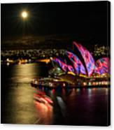 Vivid Sydney Under Full Moon Canvas Print