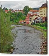 Vltava River As It Runs Slowly Through Cesky Krumlov In The Czech Republic Canvas Print