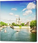 Notre Dame And River Seine Canvas Print