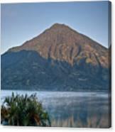 Volcano And Reflection Lake Atitlan Guatemala Canvas Print