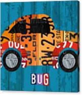 Volkswagen Vw Bug Vintage Classic Retro Vehicle Recycled License Plate Art Usa Canvas Print