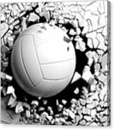 Volleyball Ball Breaking Forcibly Through A White Wall. 3d Illustration. Canvas Print