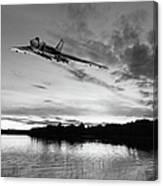 Vulcan Low Over A Sunset Lake Sunset Lake Bw Canvas Print