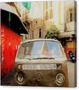 Vw Bus Parked In Basta Beirut  Canvas Print