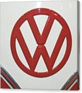 Vw Emblem In Red Canvas Print