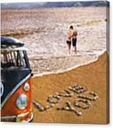 Vw Love On Beach Canvas Print