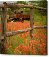 Wagon In Paintbrush - Texas Wildflowers Wagon Fence Landscape Flowers Canvas Print