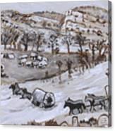 Wagon Train Crossing River Canvas Print