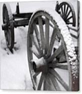 Wagon Wheels In Snow Canvas Print