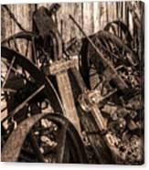 Wagons Whoa Bw Canvas Print