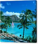 Waikiki And Sailboat Canvas Print