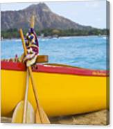 Waikiki Canoe Paddles Canvas Print