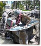 Waikiki Statue - Surfer Boy And Seal Canvas Print