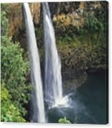 Wailua Falls Surrounded By Foliag Canvas Print