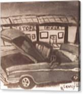 Waiting For Service- Sephia Canvas Print