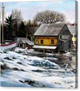 Essex Boatyard, Winter Canvas Print