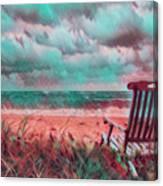 Waiting For Sunrise In Aqua And Peach Canvas Print
