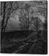 Walking In A Muddy Lane Canvas Print