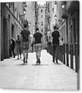 Walking In Barcelona Canvas Print