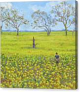 Walking In The Mustard Field Canvas Print