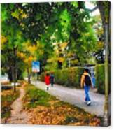 Walking On A Beautiful Path Canvas Print