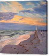 Walking On The Beach At Sunset Canvas Print