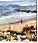 Walking The Beach On Long Beach Island Canvas Print