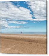 Walking The Dog On The Beach Canvas Print