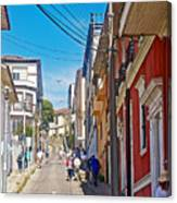 Walking Up Steep Streets In Hilly Valparaiso-chile Canvas Print