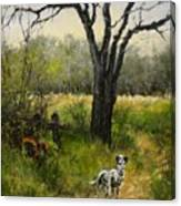 Walking With My Farley Canvas Print