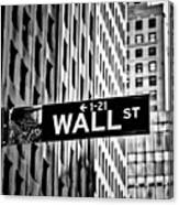 Wall St Sign New York In Black And White Canvas Print
