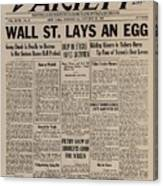 Wall Street Lays An Egg. Famous Canvas Print