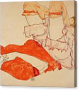 Wally In Red Blouse With Raised Knees Canvas Print