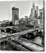 Walnut Street City View In Black And White Canvas Print
