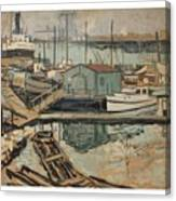 Walter  E  Schofield 1867-1944 Dock With Shed Canvas Print