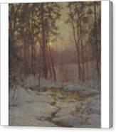Walter Launt Palmer 1854-1932 Winter Stream At Sunset Canvas Print