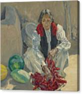 Walter Ufer 1876-1936 Stringing Chili Peppers Canvas Print