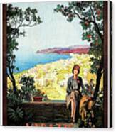 Warazze, Savona, Italy, Woman On Hotel Terrace Canvas Print