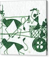 Warli Farmers In Bullock Cart Canvas Print