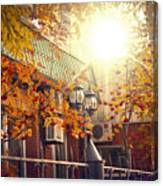 Warm Autumn City. Warm Colors And A Large Film Grain. Canvas Print