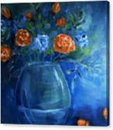 Warm Blue Floral Embrace Painting Canvas Print