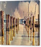 Warm Reflections In The Marina Canvas Print