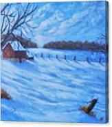 Warm Winter Barn Canvas Print