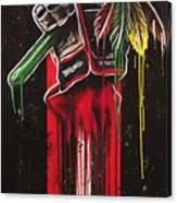 Warrior Glove On Black Canvas Print