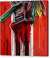 Warrior Glove On Red Canvas Print