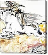 Warrior On White Horse Canvas Print