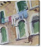 Washday In Venice Canvas Print